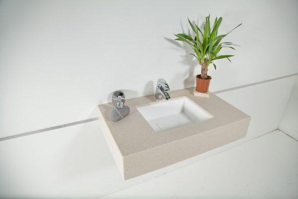 Фото в интерьере раковины встройки снизу из искусственного камня Loreto-Uno-01