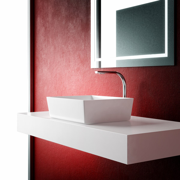 Фото в интерьере квадратной раковины под стольного монтажа в ванную Loreto Uno