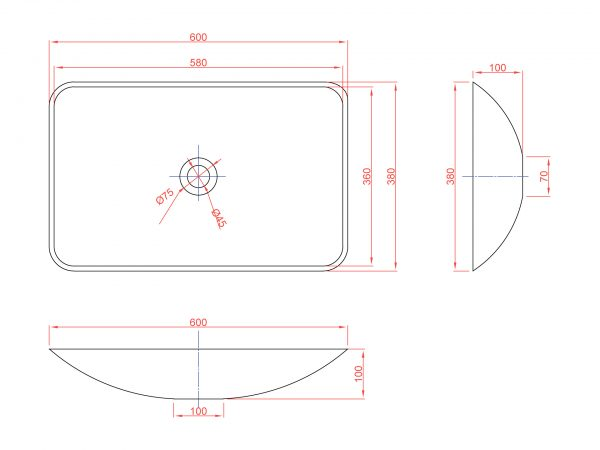 Схема прямоугольная накладная раковина Stelvio Quattro артикул 12205