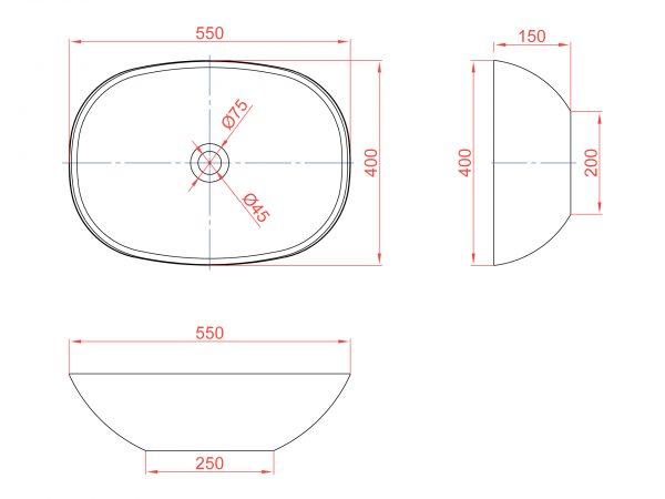 Схема накладной раковины Montebianco Loreto Cinque 400