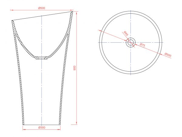 Схема накладной раковины Pisa-Cono-07